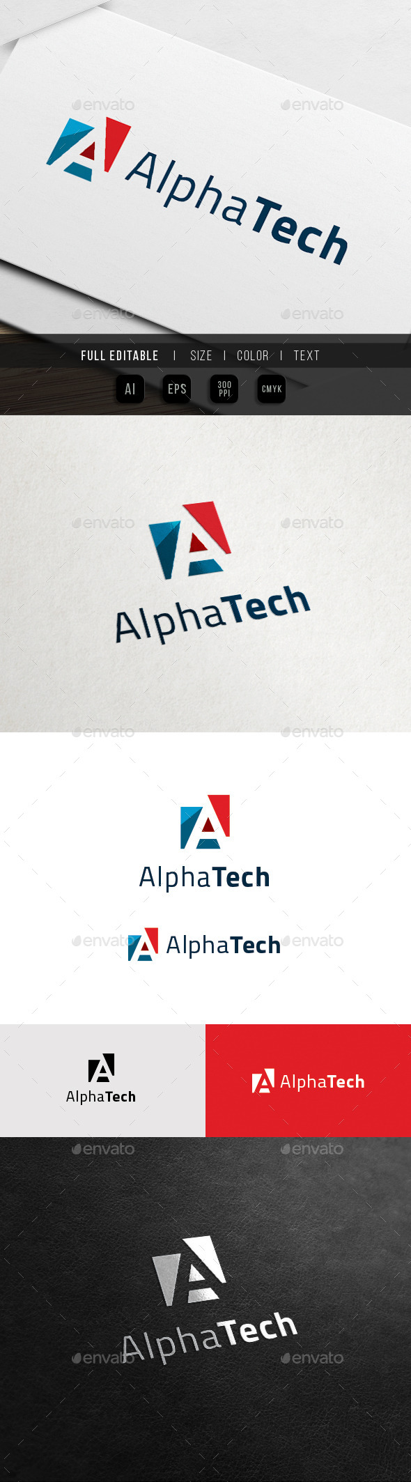 A Logo - Alpha Tech - Letters Logo Templates