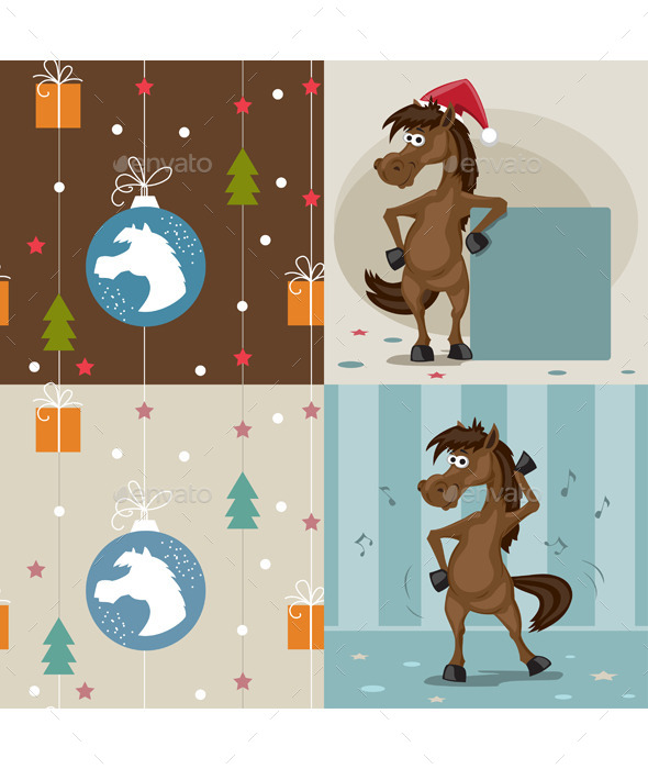 A Set of Horses in The Vector - Animals Characters