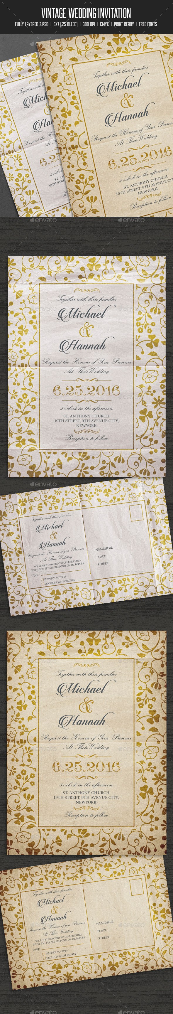 Vintage Wedding Invitation / Card - Cards & Invites Print Templates