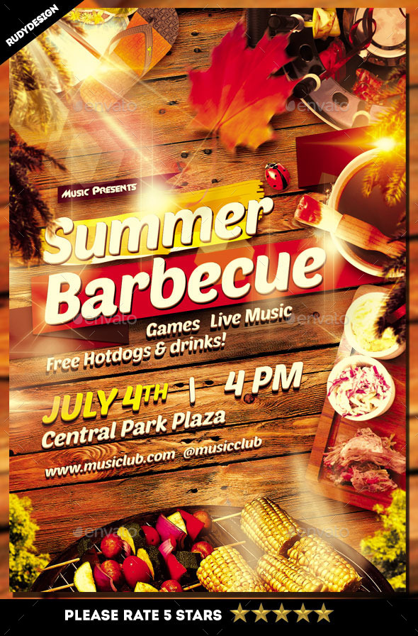 Barbecue Party Flyer Design - Clubs & Parties Events