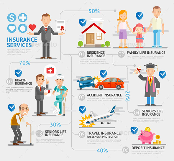 Business Insurance Character and Icons Template. - People Characters