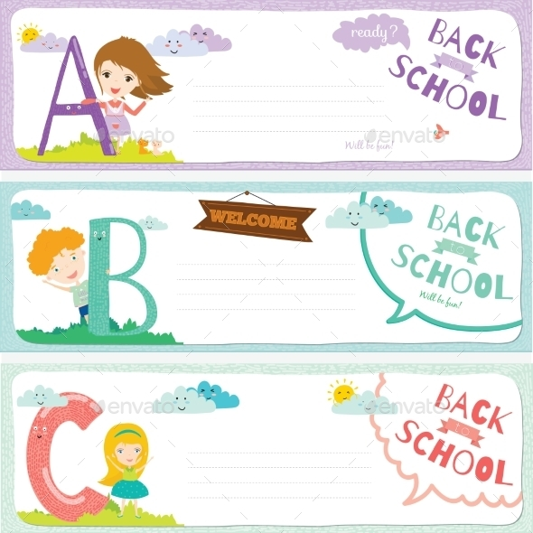 Back To School Notes With  Smiling Happy Kids - Seasons Nature