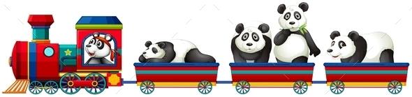 Panda and Train - Animals Characters