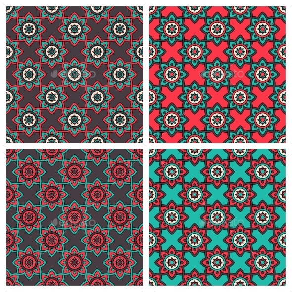 Abstract Patterns With Ethnic Ornament - Decorative Vectors