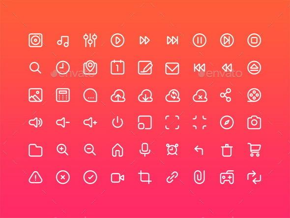 54 Multimedia Stroke Icons - Media Icons