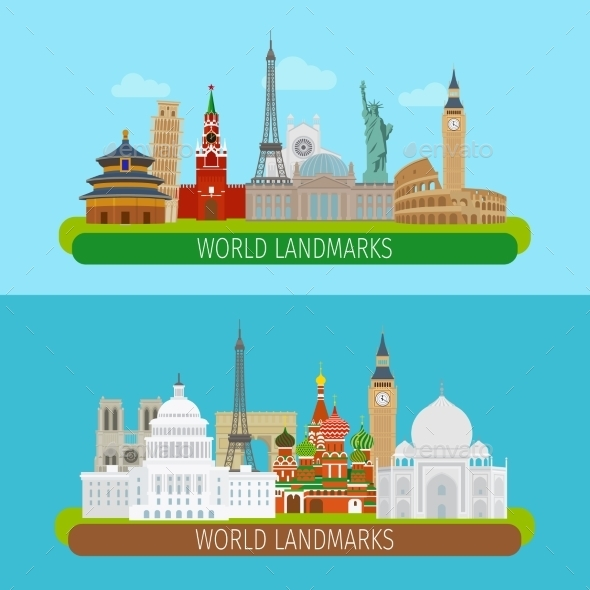 World Landmarks Banners - Travel Conceptual