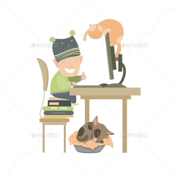 Little Boy Sitting At Computer  - People Characters