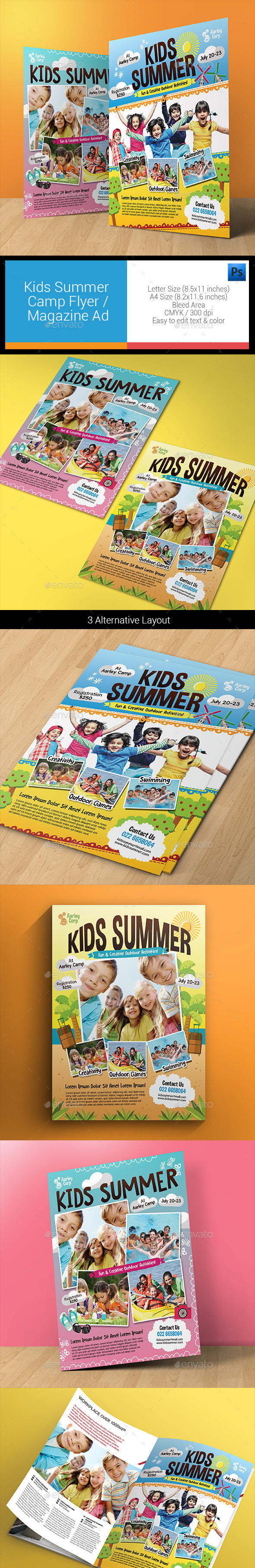 Kids Summer Camp Flyers / Magazine Ad - Holidays Events
