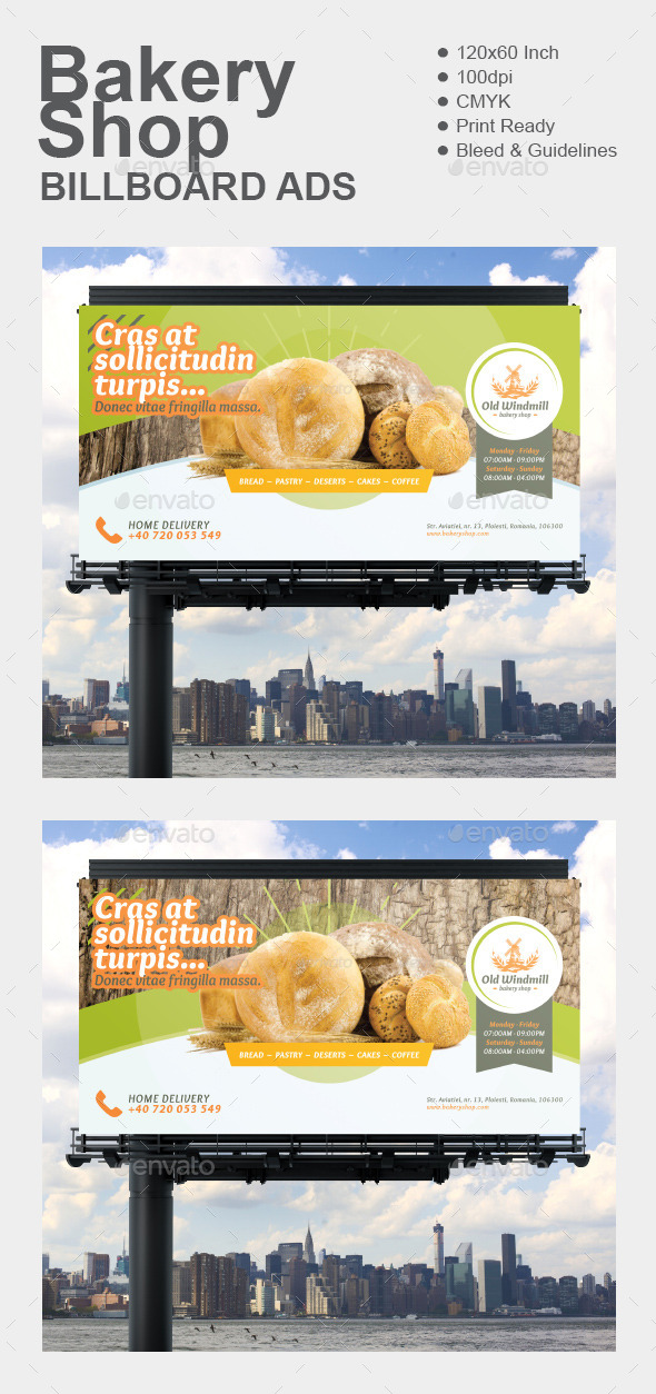Bakery Shop Billboard - Signage Print Templates
