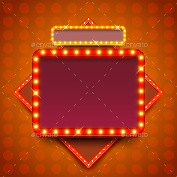 Retro Poster with Neon Lights Square Board Vector  - Backgrounds Decorative