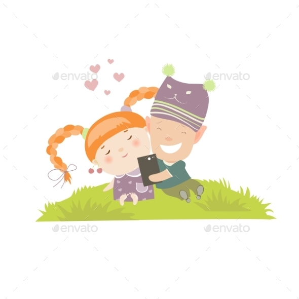 Young Couple Making Self-portrait  - People Characters