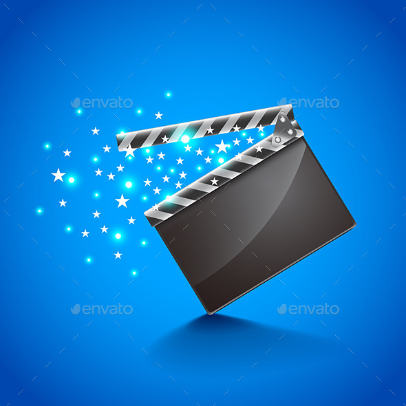 Movie Clapper Board on Blue Background Vector - Man-made Objects Objects
