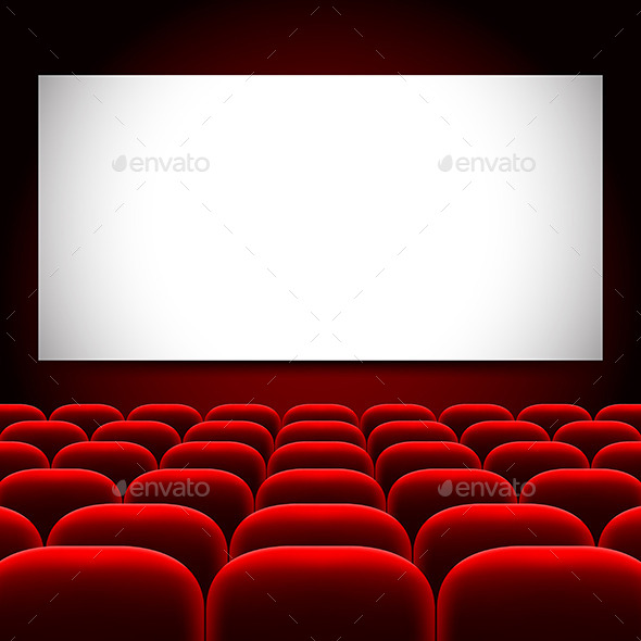 Cinema Screen and Red Seats Vector Background - Buildings Objects