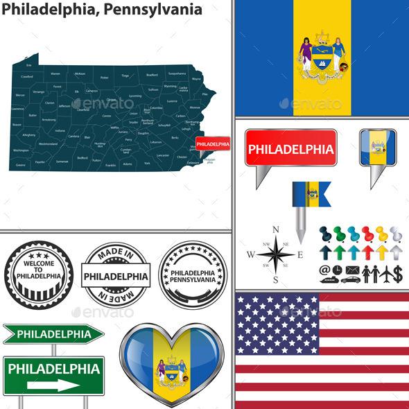 Philadelphia, Pennsylvania - Travel Conceptual