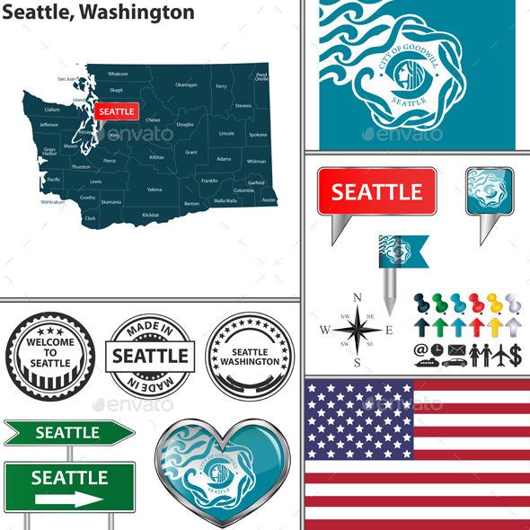Seattle, Washington - Travel Conceptual