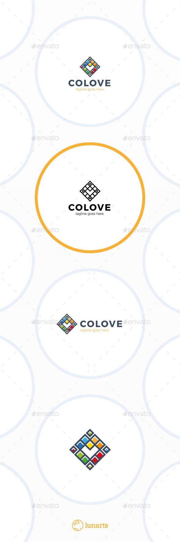 Colorful Square Heart Logo - Abstract Logo Templates