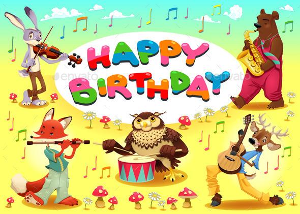 Happy Birthday Card with Musician Animals - Birthdays Seasons/Holidays