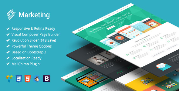 Marketing – Startup Landing Page Bootstrap WP