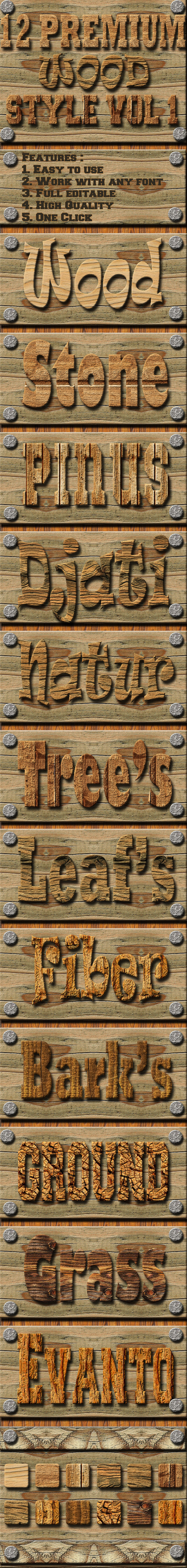 12 Wood Text Effect Style Vol 1 - Text Effects Styles