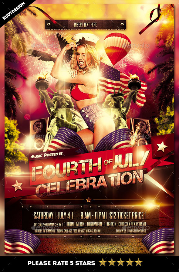 Fourth of July Independence Day Celebration Flyer - Holidays Events