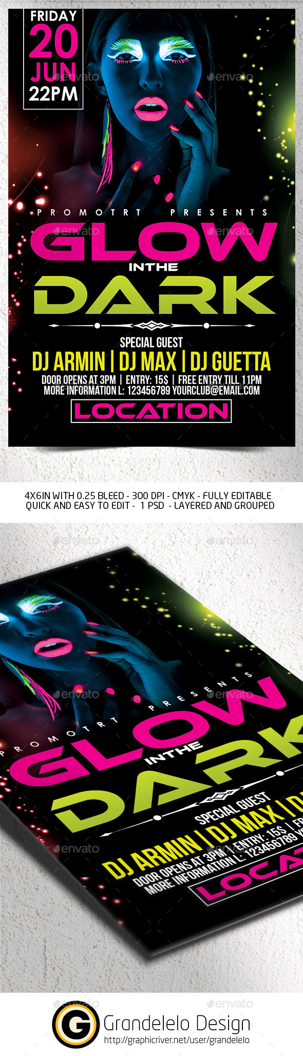 Glow in the Dark Flyer Template - Clubs & Parties Events