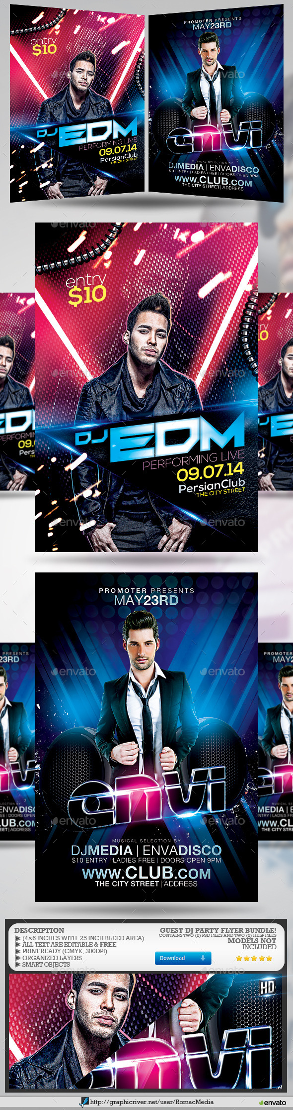 Guest DJ Party Flyer Bundle 4 - Clubs & Parties Events