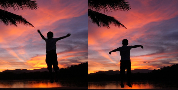 Kid Jumping In Sunset