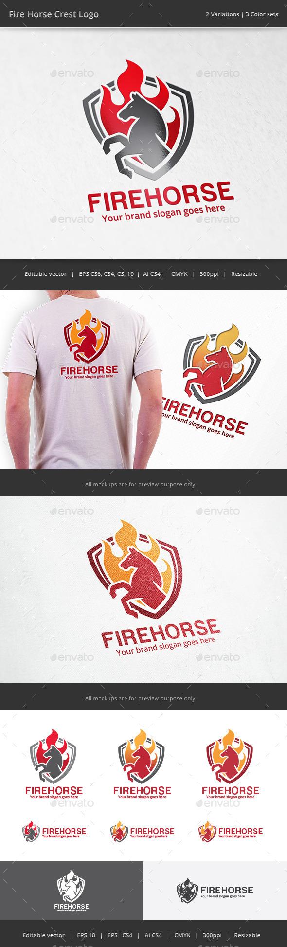 Fire Horse Crest Logo - Crests Logo Templates