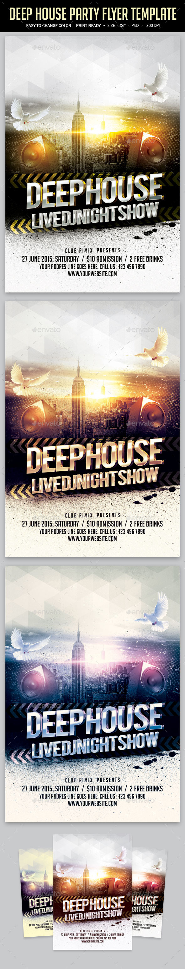 Deep House Party Flyer Template - Clubs & Parties Events