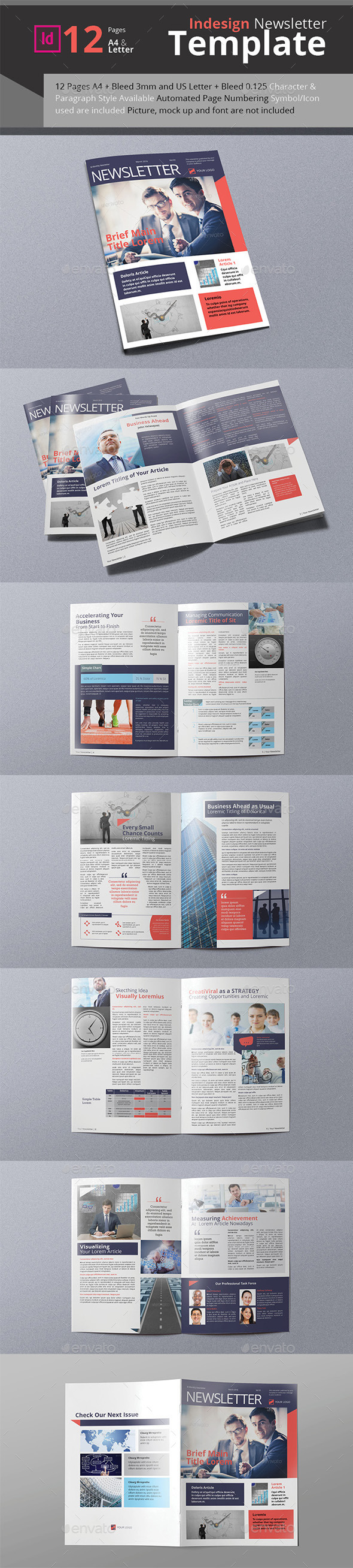 Business Newsletter A4 & Letter Size - Newsletters Print Templates