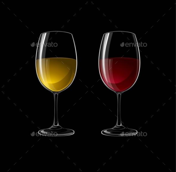 Red and White Wine - Decorative Symbols Decorative