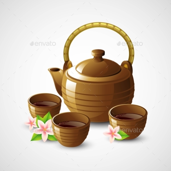 Teapot and Cups - Health/Medicine Conceptual