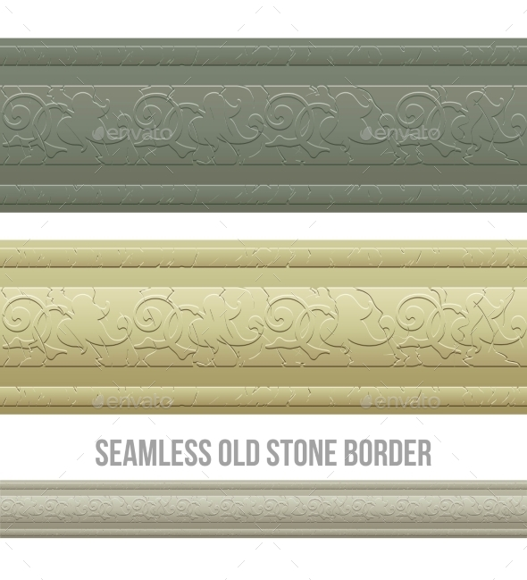 Set of Seamless Borders Stone Marble - Borders Decorative
