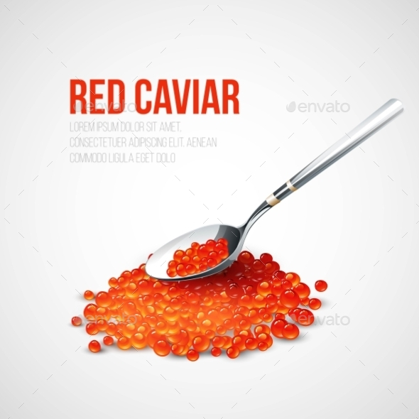 Red Caviar in a Spoon - Food Objects
