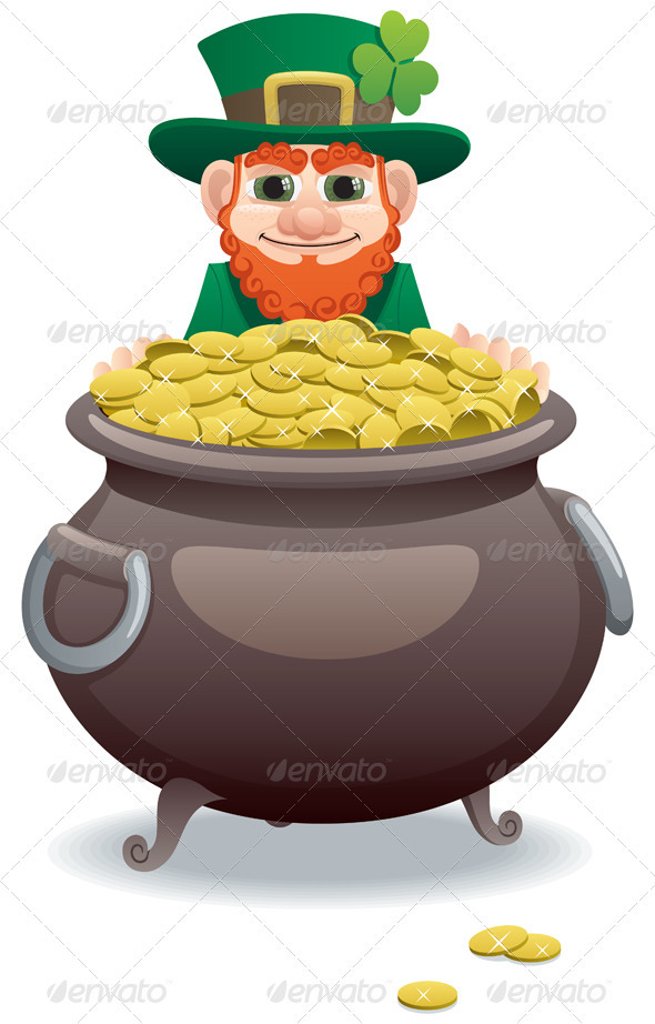 leprechaun and pot of gold by malchev   graphicriverleprechaun and pot of gold   seasons holidays conceptual