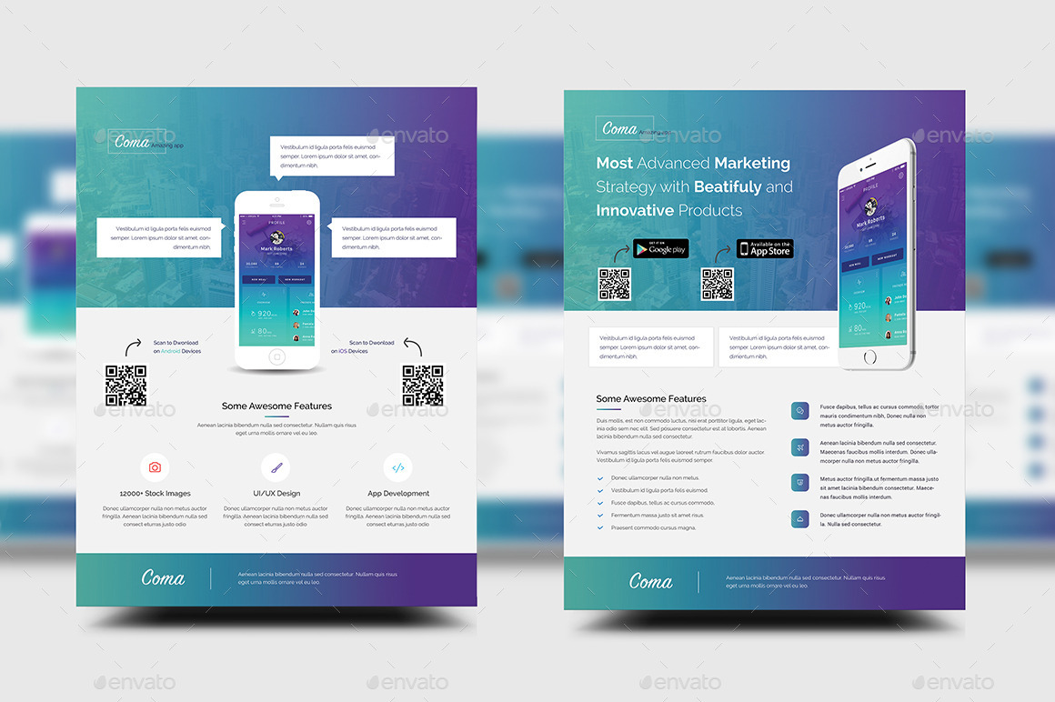 Mobile App Promotion Flyer Templates By Rtralrayhan GraphicRiver - Promotional brochure template
