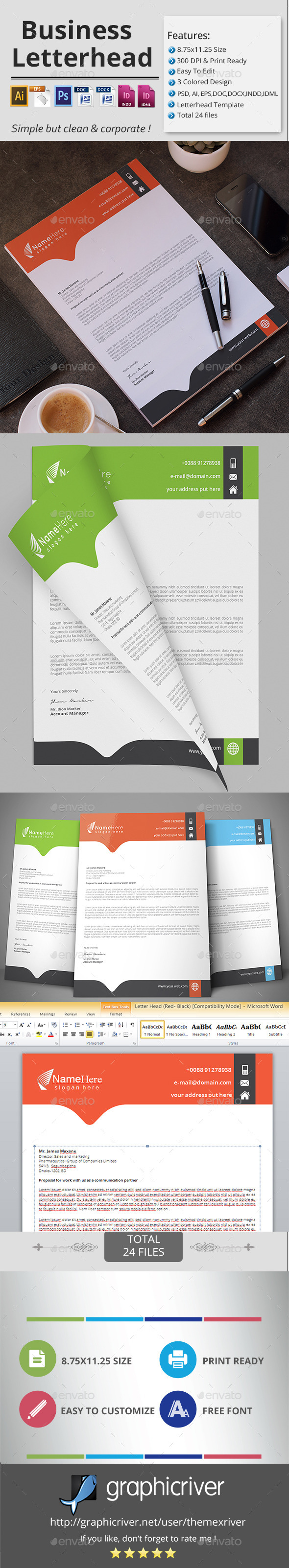 Business Letterhead. - Stationery Print Templates