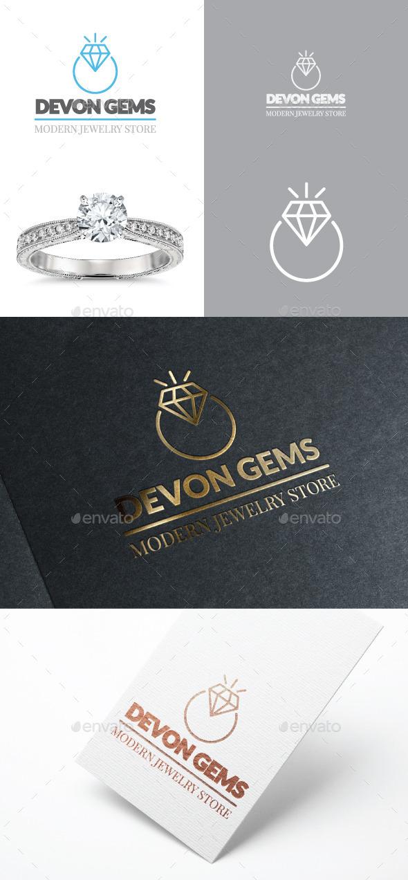 Diamond Jewelry Ring Vector Logo  - Objects Logo Templates