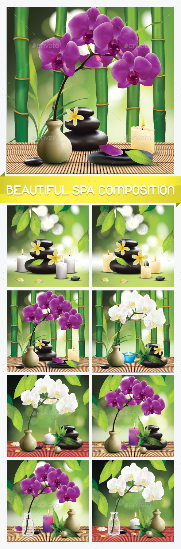 8 Spa Compositions with Orchid Flower - Miscellaneous Vectors