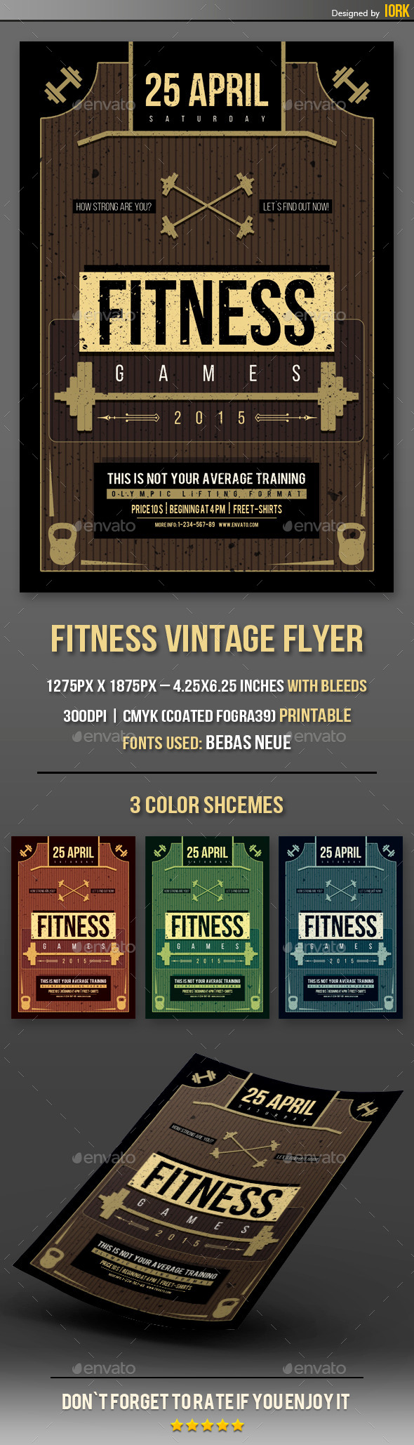 Fitness Vintage Flyer - Flyers Print Templates