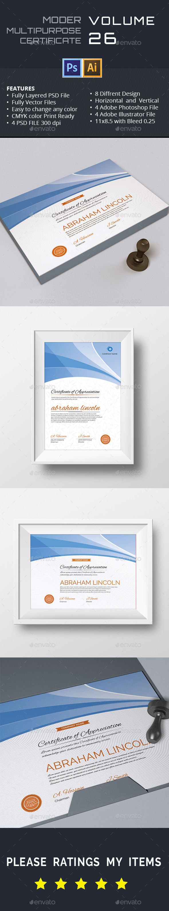 Modern Multipurpose Certificate GD026 - Certificates Stationery