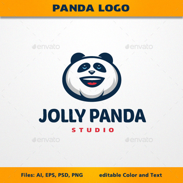 Jolly Panda Logo - Animals Logo Templates