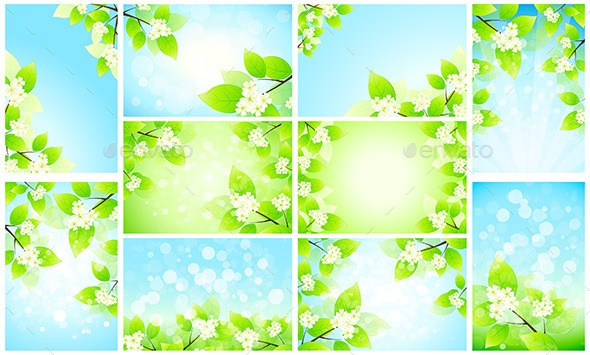 Set of Backgrounds with Flowers - Flowers & Plants Nature