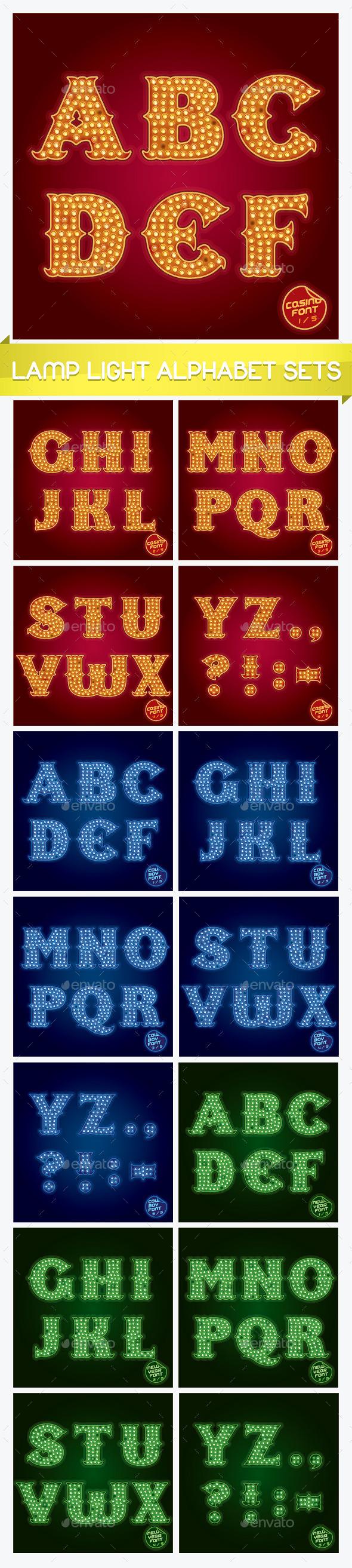 Lamp Light Alphabet Sets - Miscellaneous Vectors