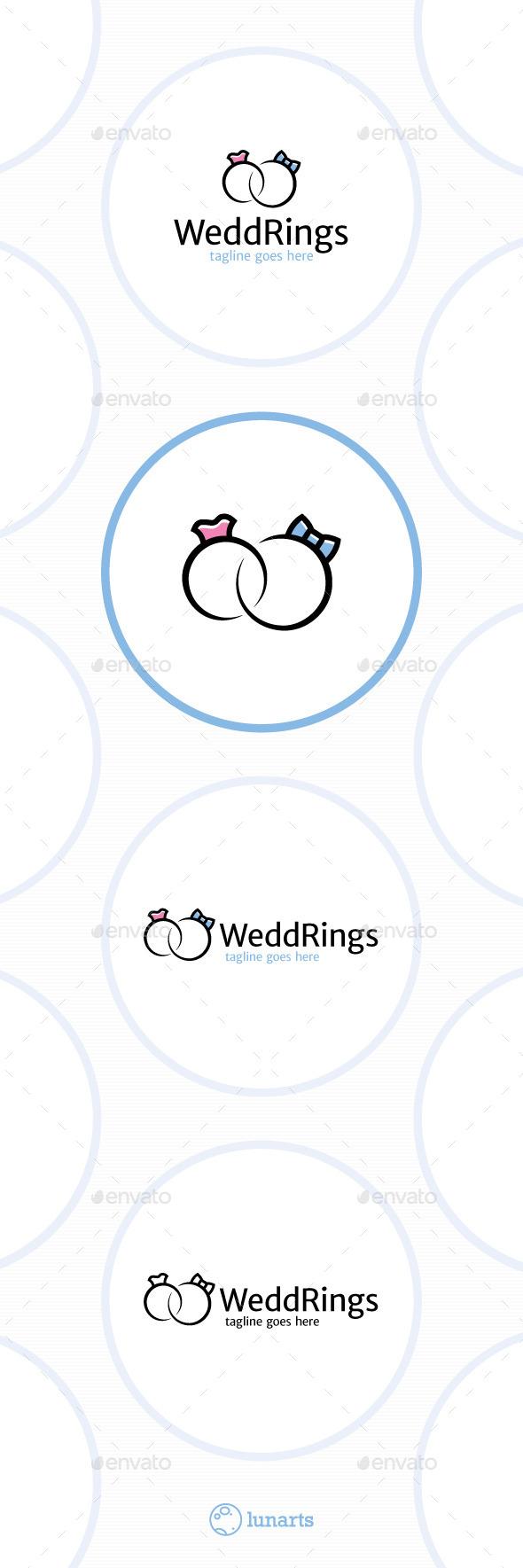 Wedding Rings Logo - Male and Female - Symbols Logo Templates