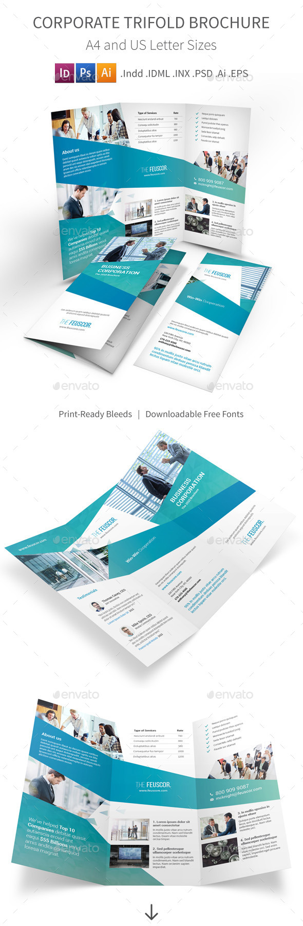Corporate Company Trifold Brochure - Corporate Brochures
