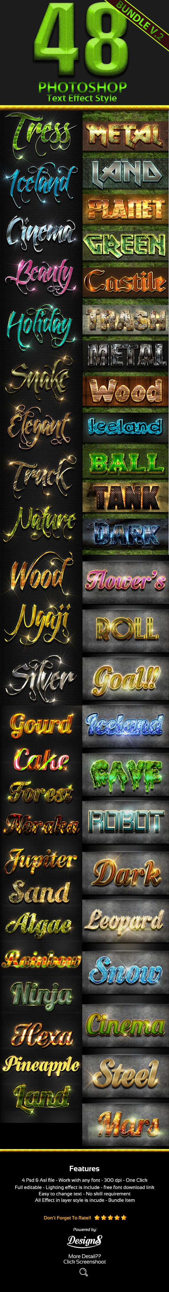 48 Photoshop Text Styles Bundle Part 2 - Text Effects Styles