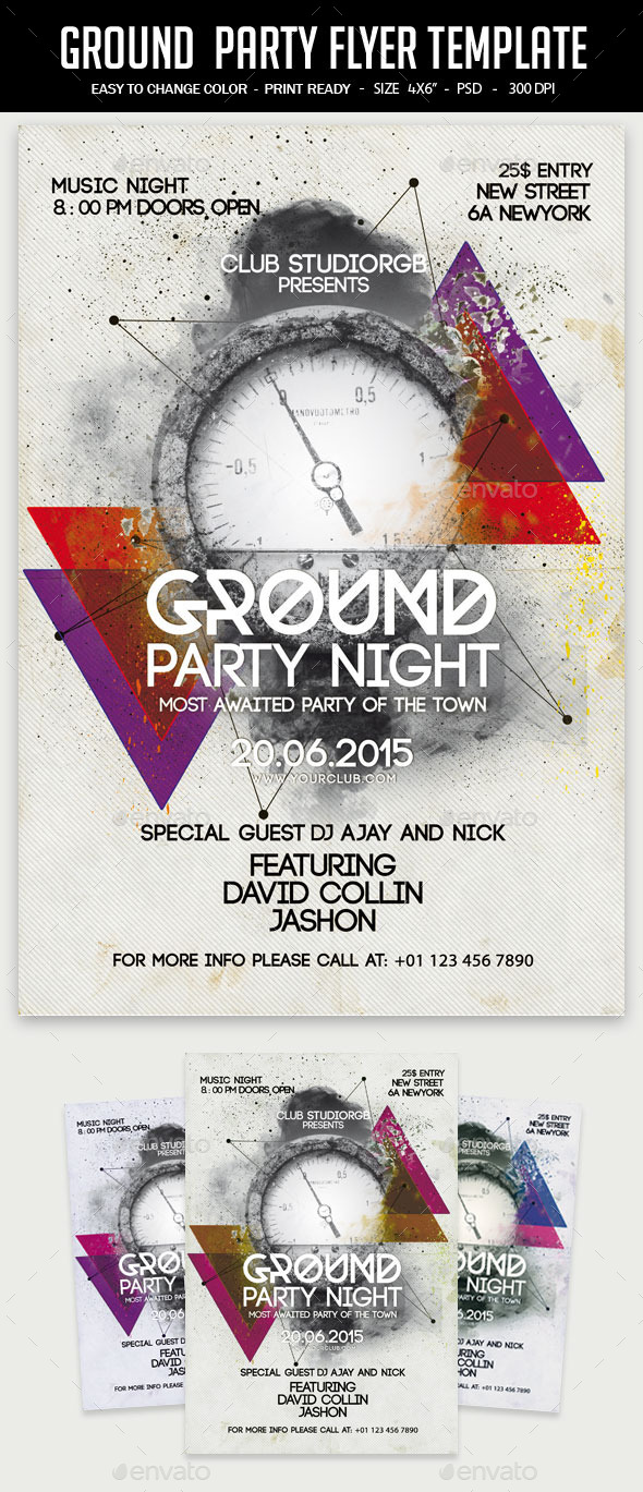 Ground  Party Flyer Template - Clubs & Parties Events