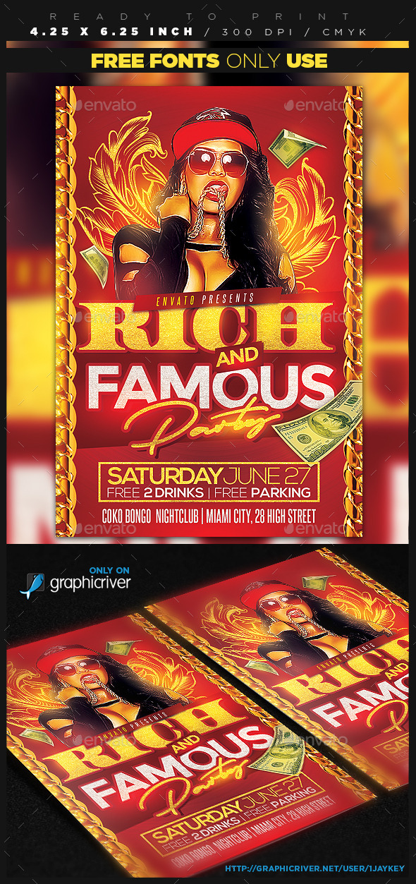 Rich and Famous Party Flyer - Clubs & Parties Events