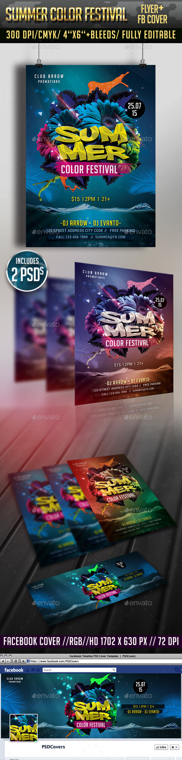 Summer Color Festival Flyer + Facebook Cover - Clubs & Parties Events